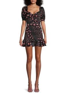 For Love & Lemons Camellia Smocked Belted Mini Dress
