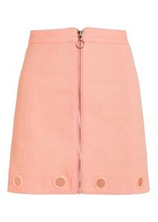 For Love & Lemons Crème Puff Denim Mini Skirt