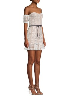 For Love & Lemons Dakota Lace Off-The-Shoulder Mini Dress