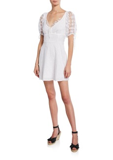 For Love & Lemons Felix Mini Embroidered Dress