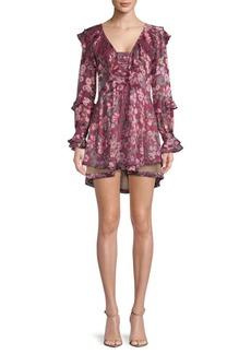 For Love & Lemons Floral Drawstring Mini Dress