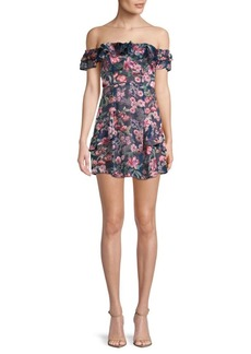 For Love & Lemons Floral-Print Off Shoulder Mini Dress
