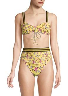 For Love & Lemons Floral-Print Smocked Bikini Top
