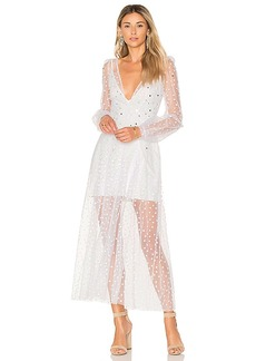 For Love & Lemons All That Glitters Maxi Dress in White. - size L (also in M,S,XS)