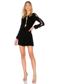 For Love & Lemons Beatrix Velvet Button Sleeve Dress in Black. - size XS (also in M,S)