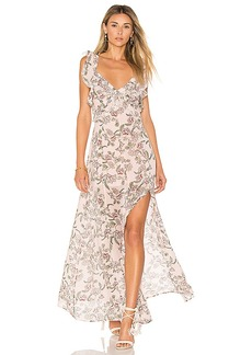For Love & Lemons Bee Balm Floral Maxi Dress in Pink. - size M (also in S,XS)