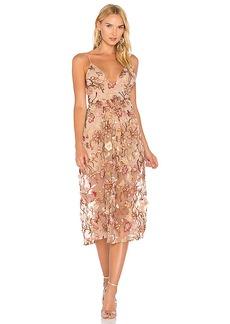 For Love & Lemons Botanic Midi Dress in Brown. - size L (also in S,XS)