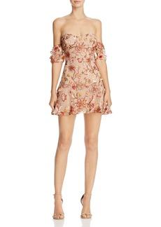 For Love & Lemons Botanical Off-the-Shoulder Dress