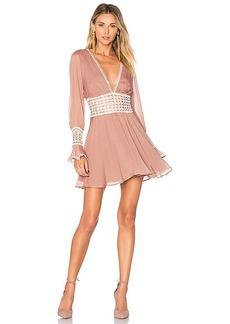 For Love & Lemons Celine Mini Dress in Blush. - size L (also in M,S,XS)