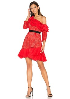 For Love & Lemons Chianti Off Shoulder Ruffle Dress in Red. - size M (also in L,S,XS)