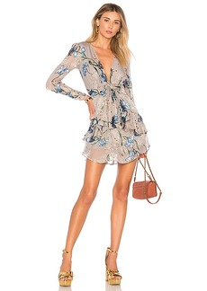 For Love & Lemons Cleo Floral Party Dress in Gray. - size L (also in M,S,XS)