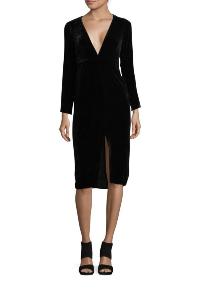For Love & Lemons Collette Deep V-Neck Midi Shift Dress