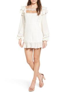 For Love & Lemons Crema Silk & Linen Minidress
