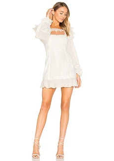 For Love & Lemons Crema Silk Linen Dress in White. - size L (also in M,S,XS)