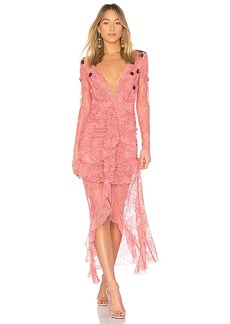 For Love & Lemons Daisy Lace Midi Dress in Pink. - size L (also in M,S,XS)