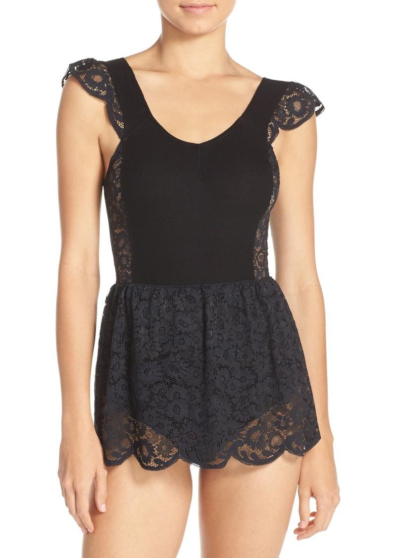 For Love & Lemons 'Daisy' Lace Skirted Bodysuit
