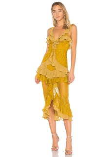For Love & Lemons Daphne Lace Midi Dress in Yellow. - size L (also in S,M)