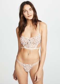 For Love & Lemons Ditzy Daisy Embroidery Bustier Bra