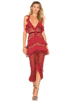 For Love & Lemons Dotty Midi Dress in Red. - size L (also in M,S)