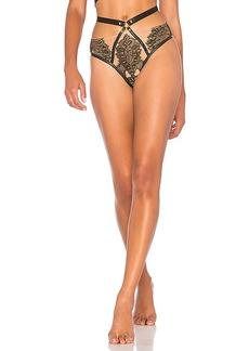 For Love & Lemons Eva Lace Stud Panty in Black. - size M (also in S,XS)