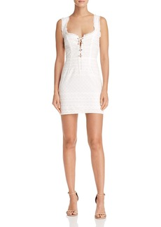 For Love & Lemons Eyelet Lace-Up Mini Dress