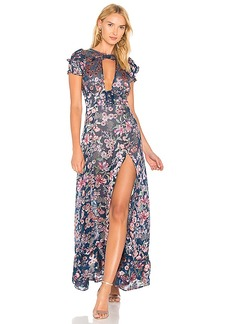 For Love & Lemons Flora Maxi Dress in Navy. - size L (also in M,S,XS)