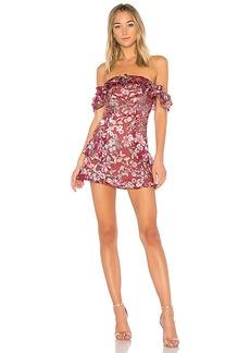 For Love & Lemons Flora Off Shoulder Mini Dress in Mauve. - size S (also in L,M,XS)
