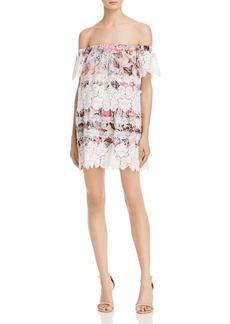 For Love & Lemons Floral Lace Off-The-Shoulder Dress