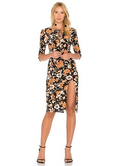 For Love & Lemons Floret Print Midi Dress in Black. - size M (also in L,S,XS)