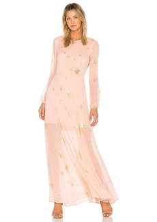 For Love & Lemons Gilded Star Maxi Dress in Pink. - size L (also in M,S,XS)