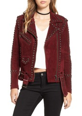 For Love & Lemons 'Jameson' Studded Suede Moto Jacket