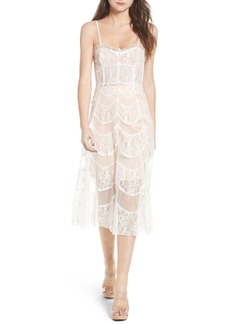 For Love & Lemons La Bella Strapless Midi Dress