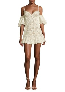 For Love & Lemons Lace Cold Shoulder Mini Dress