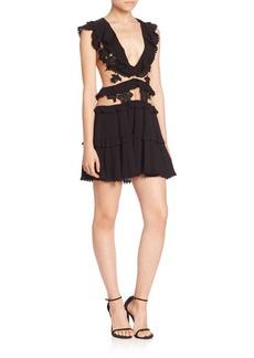 For Love & Lemons Laney Lou Sheer Panel Mini Dress