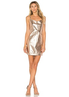 For Love & Lemons Luna Metallic Dress in Metallic Gold. - size L (also in M,S,XS)