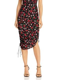 For Love & Lemons Molly Rose-Print Ruched Drawstring Skirt
