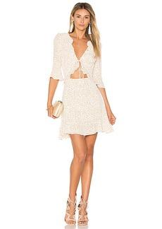 For Love & Lemons Nostalgic Tie Front Dress in White. - size XS (also in S,M)