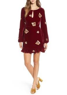 For Love & Lemons Papillon Appliqué Velvet Swing Dress