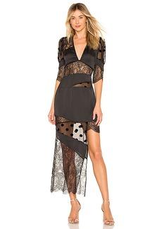 For Love & Lemons Rosalyn Paneled Maxi Dress