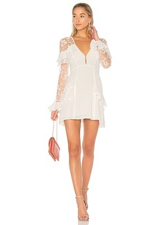 For Love & Lemons Rosebud Embroidery Mini Dress in Ivory. - size L (also in M,S,XS)