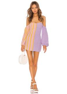 For Love & Lemons Seaside Mixed Print Mini Dress