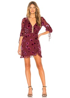 For Love & Lemons Sophie Velvet Floral Mini Dress