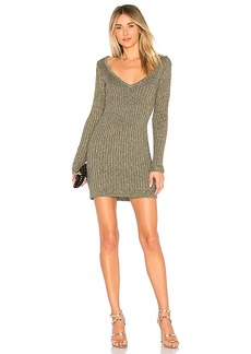 For Love & Lemons Sparkle Knit Metallic Long Sleeve Dress in Metallic Gold. - size L (also in M,S,XS)