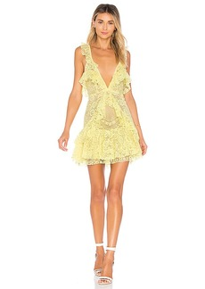 For Love & Lemons Tati Lace Ruffle Dress