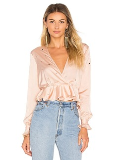 For Love & Lemons Twinkle Long Sleeve Blouse in Pink. - size L (also in M,S,XS)