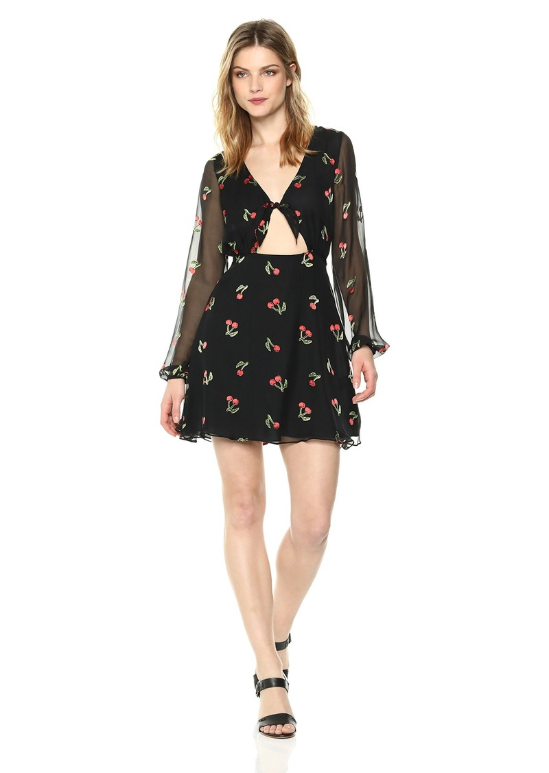 For Love & Lemons Women's Cherry Twist Mini Dress CHERRYBURNOUT M