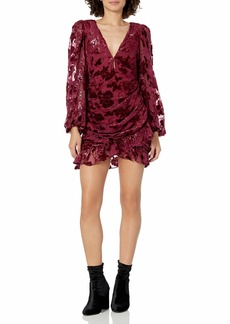 For Love & Lemons Women's Velvet Burnout Long Sleeve Mini Dress