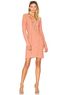For Love & Lemons x KNITZ Simone Lace Front Sweater Dress in Pink. - size M (also in S,XS)