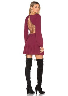 For Love & Lemons x REVOLVE Lace Up Dress in Burgundy. - size M (also in S,XS)