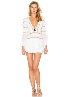 For Love & Lemons Ziggy Pintuck Dress in White. - size L (also in M,S,XS)